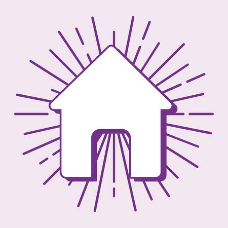 house shape icon over purple background, colorful line design. vector illustration