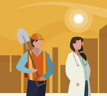 couple of professional workers in cityscape at sunset vector illustration design  イラスト・ベクター素材