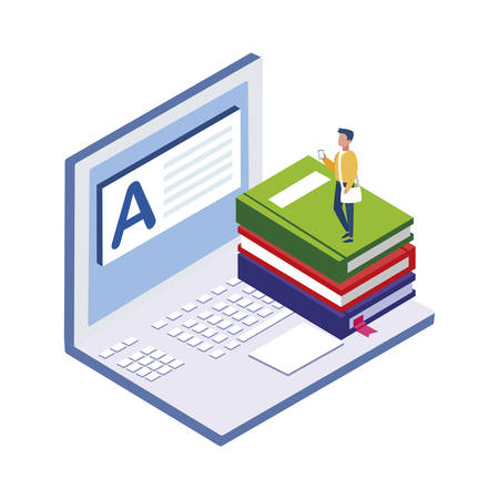 text book with laptop and mini people vector illustration design