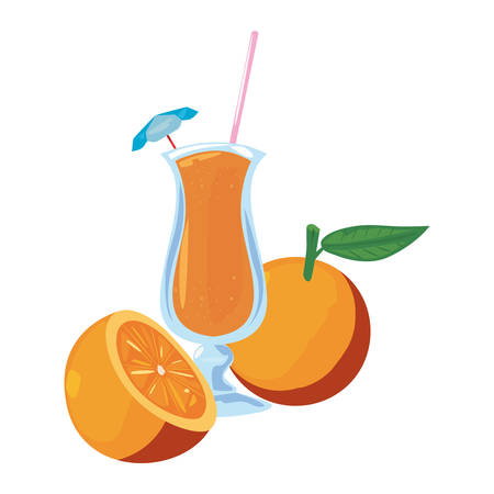 summer time holiday glass cup juice orange vector illustration