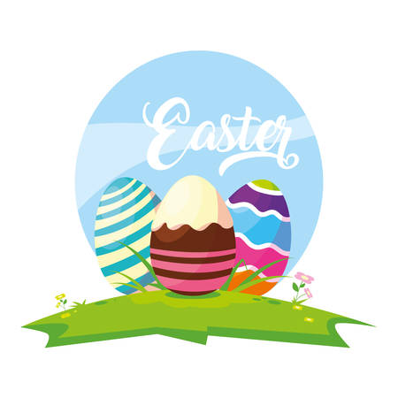 set of decorated easter eggs with candies in grass vector illustration design 일러스트