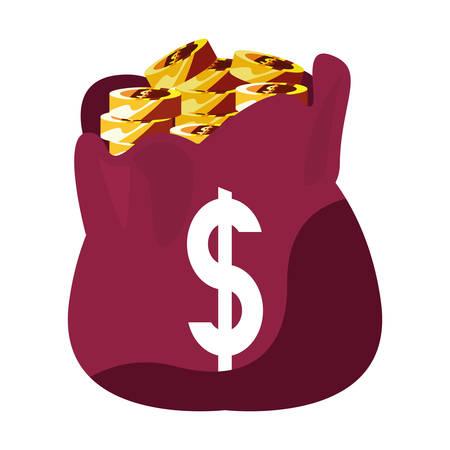 filled money bag coins banking vector illustration 向量圖像