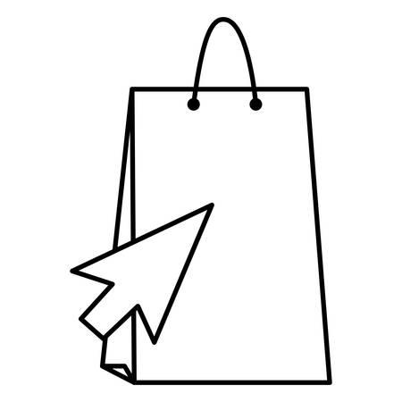 shopping bag with mouse arrow vector illustration design Çizim