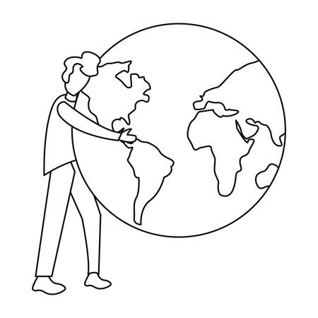 man with planet world happy earth day vector illustration Illusztráció