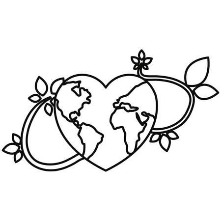 world shaped heart branches happy earth day vector illustration Illusztráció