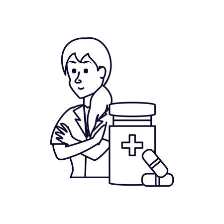 doctor female with bottle of medicine vector illustration design