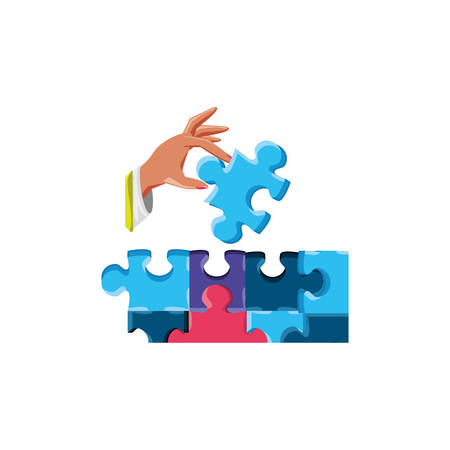 hand with set of puzzle pieces isolated icon vector illustration design Иллюстрация