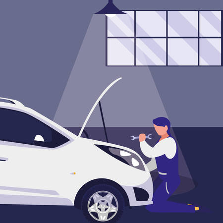 mechanic worker with car in the workshop vector illustration design