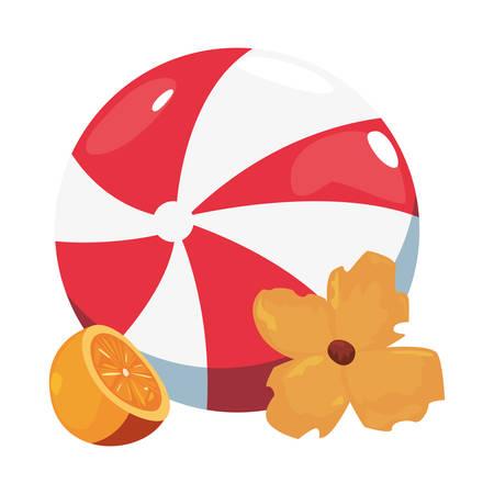 summer time holiday beachball orange and flower vector illustration Çizim