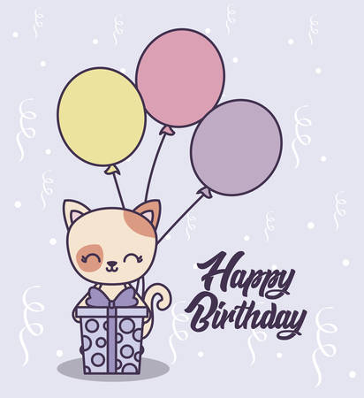 happy birthday card with cute cat vector illustration design