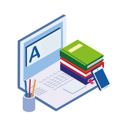 pile text books with laptop vector illustration design
