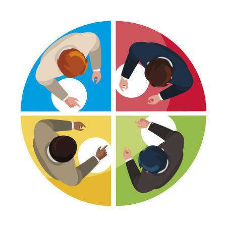 businessmen group teamwork with infographic view vector illustration design Stock Illustratie