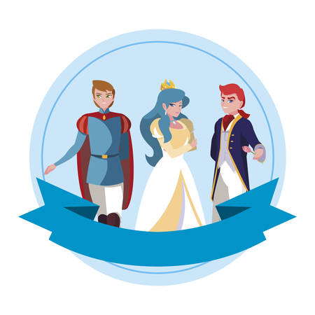 beautiful princess with princes of tales characters vector illustration design Imagens - 131388630