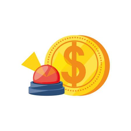 coin dollar with alarm light emergency vector illustration design Ilustracja
