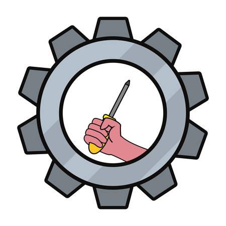 hand screwdriver construction tool vector illustration design 일러스트