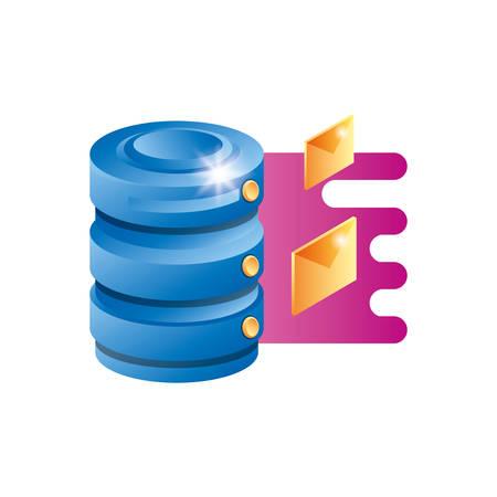 data center disk with envelopes vector illustration design
