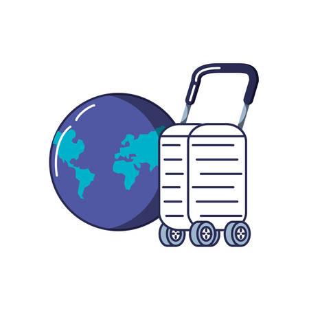 suitcase with wheels icon vector illustration design Vettoriali