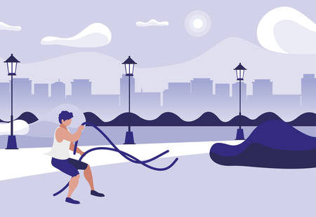 athletic man practicing exercice with elastics bands in the park vector illustration Иллюстрация