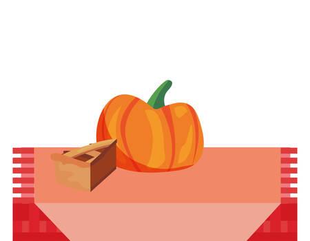dinner room pie pumpkin thanksgiving celebrate vector illustration