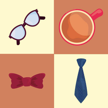 happy fathers day set coffee cup eyeglasses bow tie vector illustration