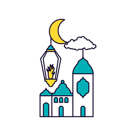 mosque castle at night ramadan kareem vector illustration design