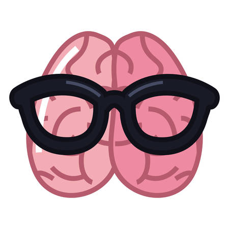 human brain using eyeglasses cartoon vector illustration