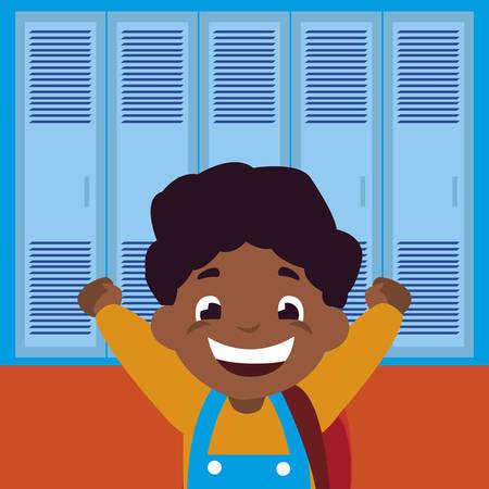 little black schoolboy with schoolbag in school corridor vector illustration design Ilustração