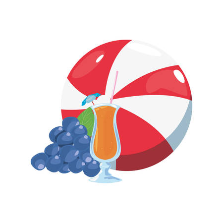 summer time holiday beachball cocktail grapes vector illustration
