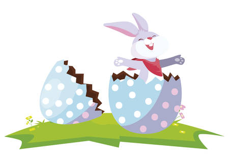 cute rabbit easter with egg painted in the camp vector illustration design Çizim