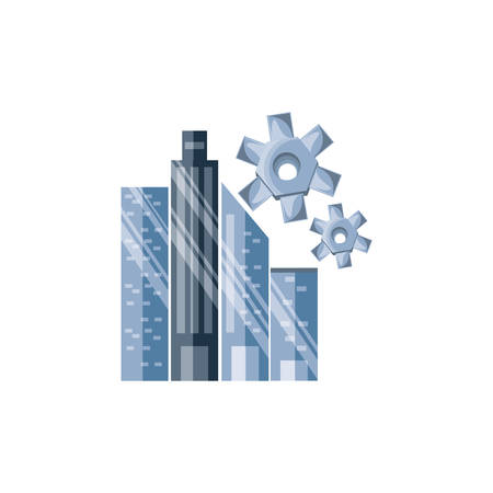 gears pinions with cityscape vector illustration design