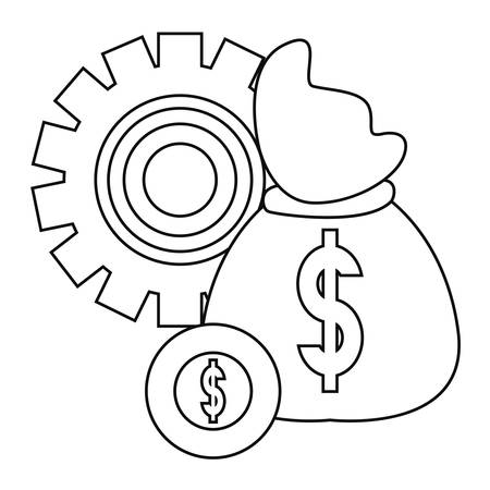 money bag coin gear banking vector illustration