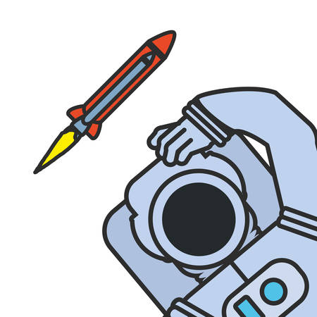 astronaut suit with rocket isolated icon vector illustration design
