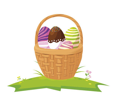 happy easter eggs painted in basket vector illustration design
