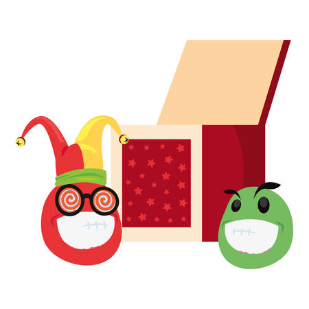 emoji box april fools day vector illustration