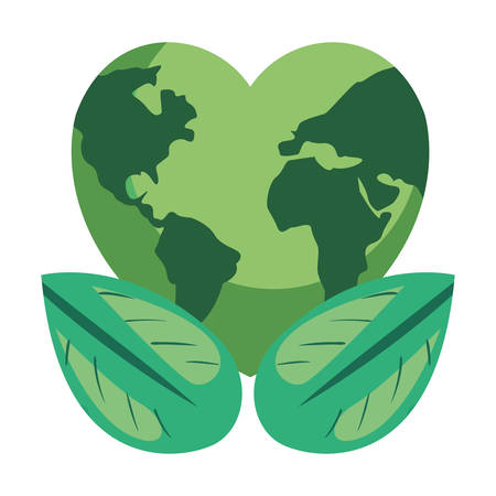 world shaped heart natural leaves earth day vector illustration