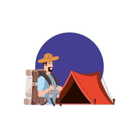 traveler man with travel bag and tent camping vector illustration design Ilustração