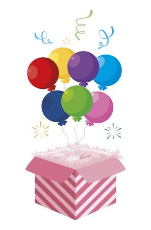 cake packing box with confetti and balloon helium vector illustration design Ilustração
