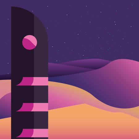 futuristic building desert landscape style vector illustration