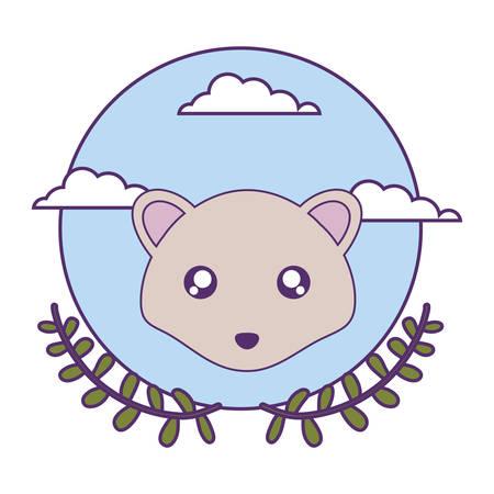 cute little mouse baby with crown leafs vector illustration design Ilustração