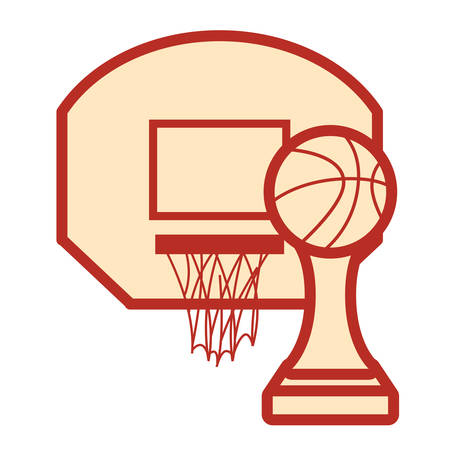 basketball sport trophy hoop white background vector illustration