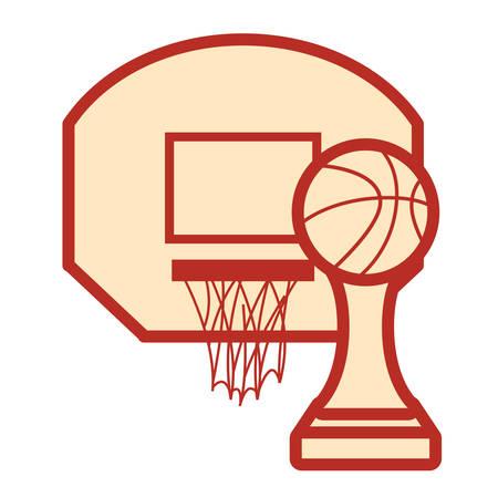 basketball sport trophy hoop white background vector illustration