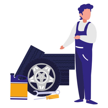 mechanic worker with tires car vector illustration design
