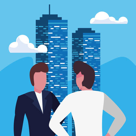 businessmen city building urban background vector illustration Stock Illustratie