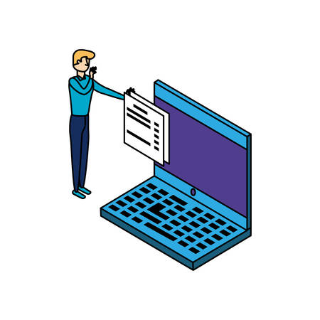 businessman worker with laptop and documents vector illustration design
