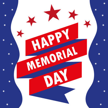 happy memorial day card with ribbon and stars vector illustration design Ilustração