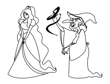beautiful princess with witch of tales characters vector illustration design Фото со стока - 131345985