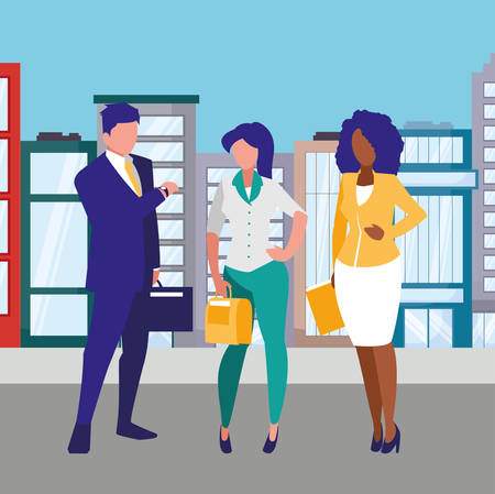 avatar businesspeople standing over white background, vector illustration