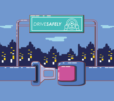 drive safely design with seat and board sign over city buildings and purple background, colorful design vector illustration