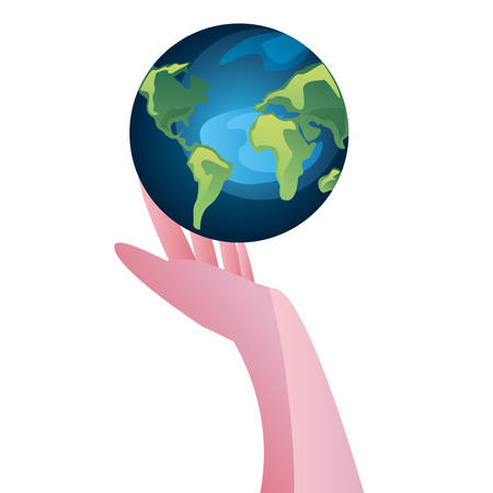 hand with world happy earth day vector illustration Ilustracja