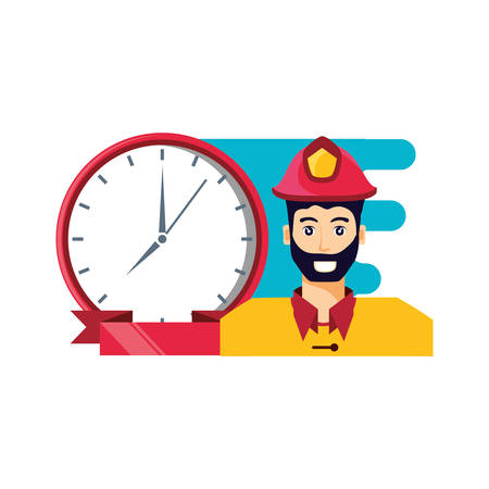 firefighter professional with clock time vector illustration design